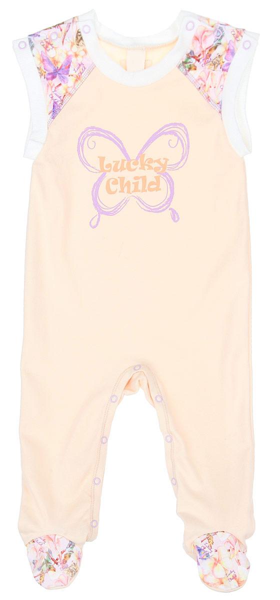 Ползунки с грудкой для девочки Lucky Child Тропический рай, цвет: дынный. 26-2. Размер 80/86, 12-18 месяцев