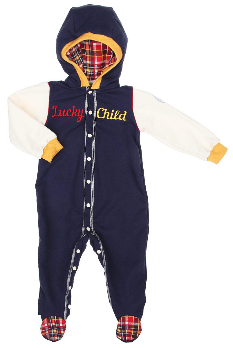 Комбинезон для мальчика Lucky Child Мужички, цвет: темно-синий, кремовый. 27-3. Размер 56/62, 0-3 месяца юбки buono юбка