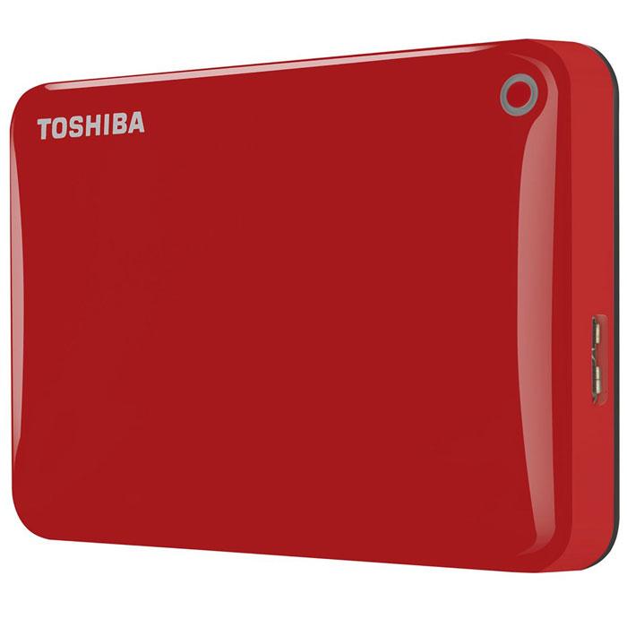 Toshiba Canvio Connect II 1TB, Red внешний жесткий диск (HDTC810ER3AA)HDTC810ER3AAToshiba Canvio Connect II дает вам возможность быстро передавать файлы с интерфейсом USB 3.0 и хранить до 3 ТБ данных на внешнем жестком диске. Устройство полностью готово для работы с Microsoft Windows и не требует установки программного обеспечения, так что ничего не может быть удобнее для хранения всех ваших любимых файлов. В офисе или в дороге его классический дизайн будет всегда уместен. Более того, Toshiba Canvio Connect II позволяет подключаться также и к оборудованию с совместимостью USB 2.0.Этот внешний накопитель обеспечивает доступ к вашим файлам практически из любого места и с любого устройства. Toshiba Canvio Connect II может легко превратить ваш компьютер в облачный сервер благодаря предустановленному ПО для удаленного доступа (накопитель должен быть подключен к компьютеру и Wi-Fi). Помимо удаленного доступа это устройство предоставляет своему владельцу 10 ГБ дополнительного места в облачном сервисе. Программное обеспечение NTI Backup Now EZ обеспечивает удобное и надежное создание резервных копий и восстановление всех ваших папок, файлов и операционной системы.Canvio Connect II оборудован датчиком ударов, сигнал которого переводит головку жесткого диска в безопасное положение, за счет чего снижается риск повреждения носителя и потери данных при падении накопителя. Накопитель имеет уже установленный драйвер NTFS для Mac, поэтому вам не придется волноваться из-за типа вашего компьютера - просто подключите Canvio Connect II и получите доступ к вашим файлам.