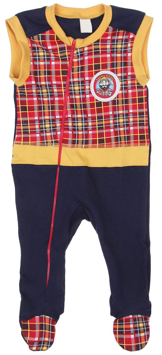 Ползунки с грудкой для мальчика Lucky Child Мужички, цвет: темно-синий, красный, желтый. 27-2. Размер 80/86, 12-18 месяцев пижама для девочки lucky child цвет кремовый желтый оранжевый 12 402 размер 80 86