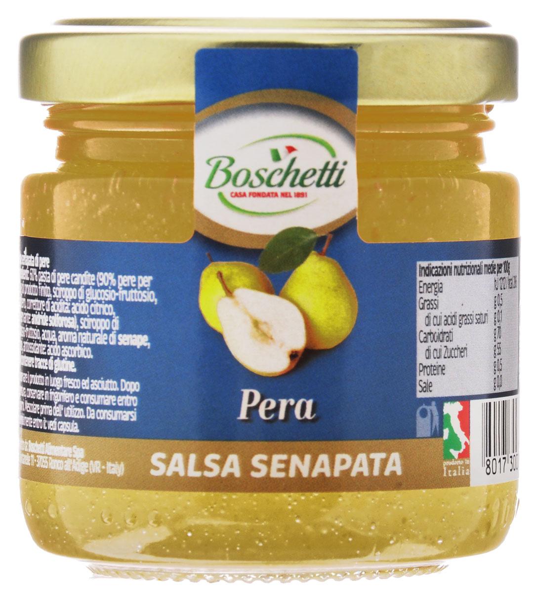 Boschetti Pera соус сальса, 120 гSP#6535AYГорчичный соус из груши Boschetti создан для тех, кто ценит уникальный вкус в приправах к любимым блюдам. Горчица и груша, подобранные кулинарами в нужных пропорциях, выдают оригинальную вкусовую гамму, в которой изысканность итальянской кухни проявляется в полной мере.Горчичный соус из груши является ведущим ингредиентом во многих итальянских рецептах. Но его часто используют в качестве дополнения к уже готовому блюду. Он превращает сыр или рыбу в изысканный деликатес. Если к вашему завтраку подается Boschetti, значит, вы любите свой быт во всех его проявлениях. Утреннее чаепитие с соусом Boschetti станет настоящим праздником.Состав: паста грушевая с сахаром 60% (90% груш на 100 г готового продукта: сироп глюкозы-фруктозы, сахар, регулятор кислотности (лимонная кислота), консервант (ангидрид), сироп глюкозы-фруктозы, вода, натуральный ароматизатор горчица, ароматизаторы,. Может содержать клейковину.