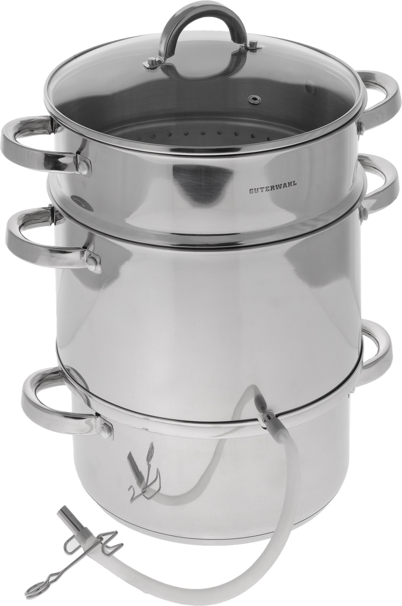 Соковарка Guterwahl с крышкой, 3-уровневая, 8 лGS-JS-26Соковарка Guterwahl, изготовленная из нержавеющей стали, предназначена для изготовления натуральных плодовых и ягодных соков в домашних условиях. Соковарка состоит из кастрюли для воды с мерной шкалой, контейнера-приемника для сока с выходом, пароварки-сетки для фруктов и ягод, стеклянной крышки, а также силиконовой трубки с зажимом. Прозрачная крышка, выполненная из термостойкого стекла с отверстием для выпуска пара, позволяет следить за процессом приготовления, а литые ручки, крепящиеся к корпусу посуды, обеспечивают удобство при эксплуатации. Форма кромки посуды предотвращает разливание жидкости, а благодаря правильности линий кромки в комбинации с крышкой обеспечивается максимальная герметизация между ними. На отводной трубке, выполненной из силикона, имеется зажим.Соковарка подходит для газовых, электрических, стеклокерамических, галогеновых и индукционных плит. Можно мыть в посудомоечной машине.Диаметр контейнера-приемника: 26 см.Высота стенки контейнера-приемника: 15,5 см. Диаметр пароварки-сетки: 26 см.Высота стенки пароварки-сетки: 16,5 см. Диаметр кастрюли: 26 см. Высота стенки кастрюли: 12 см. Толщина стенки кастрюли: 2 мм. Толщина дна кастрюли: 2 мм. Объем кастрюли (до мерных делений): 3 л. Длина отводной трубки: 33 см.