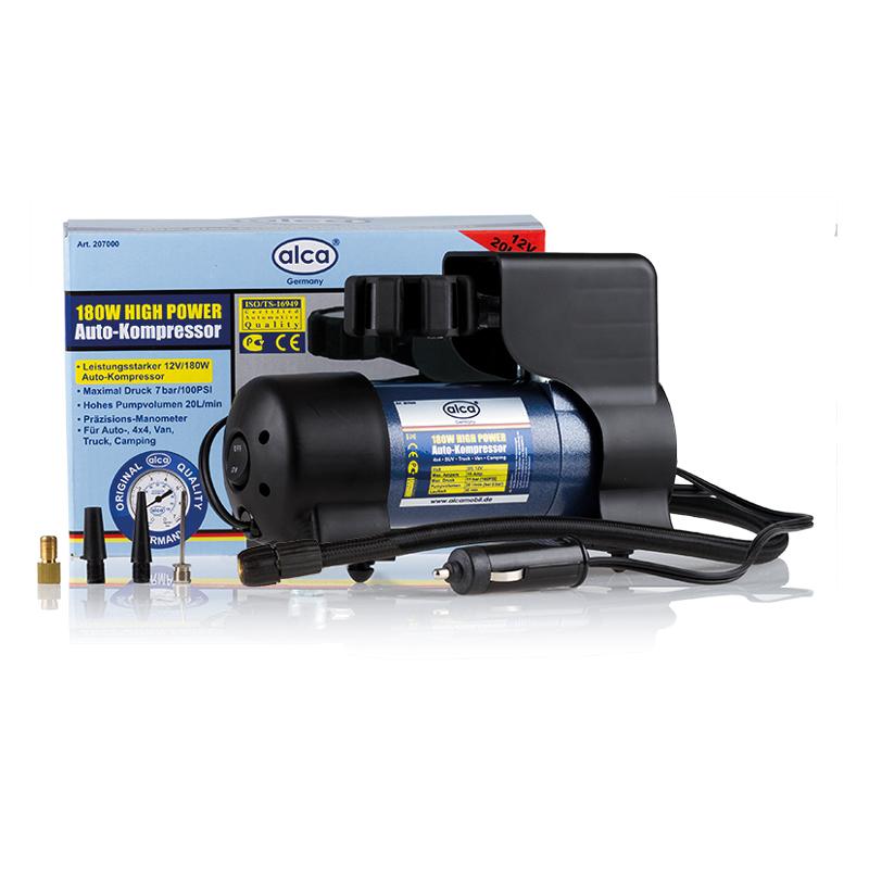 Автомобильный компрессор Alca High Power, 12 В , 180 Вт. 207000DW90Автомобильный компрессор Alca предназначен для быстрого накачивания шин, резиновых лодок, мячей, матрацев и других резиновых изделий. Корпус выполнен из прочного пластика и металла. Компрессор оборудован точным манометром со шкалой 7 бар. Работает от прикуривателя автомобиля. Максимальное давление: 11 бар.