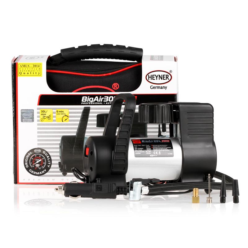 Компрессор автомобильный Heyner Big Air Премиум237500Автомобильный компрессор Heyner 230 V/500W предназначен для микроавтобусов и джипов. Скорость заполнения шин 205 70R15 около 6 минут.В комплект входят 4 адаптора.