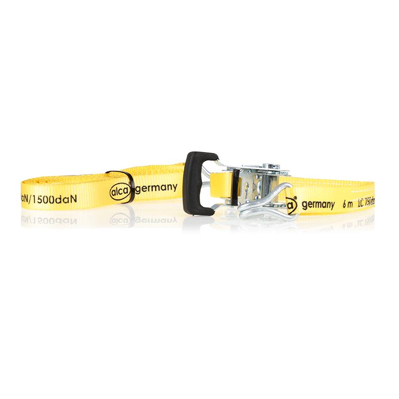 Ремень для крепления грузов Alca, цвет: желтый, 1,5 т, 25 мм х 6 м крепеж alca 406 500 ремень для крепления багажа