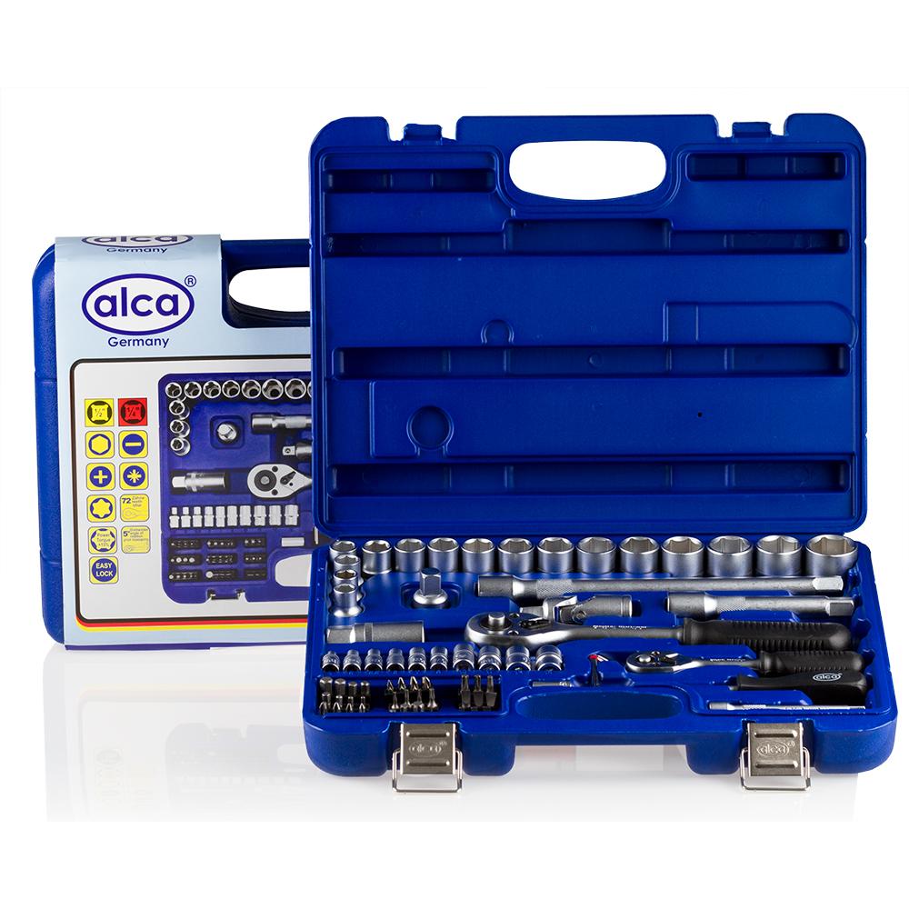 Набор головок Alca, 72 предмета414100Набор головок, 72 предметов. [?] 16 — шестигранных головок 10-27 мм. 1- трехкратный адаптер. 1- ключь для свечей зажигания 21 мм. 2 удлинителя 12 см. и 25 см. 1 трещетка [?] 10- шестиграных головок 4-13 мм. 33 - биты (-) 3-7: (+) 1,2,3: (*) 1,2,3: (T) 8-50: (H) 2-8. 1 - удлинитель 10 см. 1 - соединительный штекер. 3 - шестигранных ключа. 1 - трещетка. 1- рукоятка с внутренним и наружним квадратом. Качественная ванадиевая сталь. Крутящий момент +15%. Крепкий инструментальный ящик.