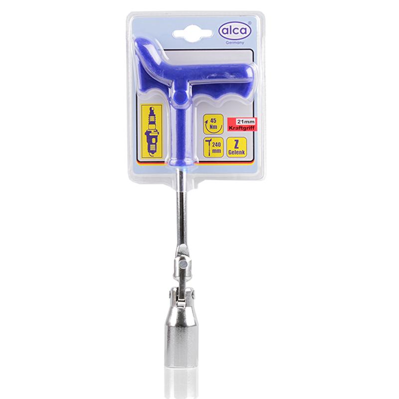Ключ свечной Alca, усиленный, 21 мм421210Свечной ключ Alca служит для замены свечей зажигания бензиновых двигателей внутреннего сгорания. Т-образная рукоятка обеспечивает удобство при работе с инструментом. Ключ имеет Z-образный шарнир. Длина ключа: 24 см. Головка: 21 мм. Крутящий момент: 45 Nm.