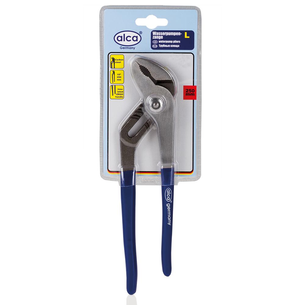 Клещи переставные Alca, 25 см459300Переставные клещи Alca предназначены для отворачивания, заворачивания и фиксации крепежа, различного по форме. Они могут быть использованы в качестве разводного или трубного ключа. Клещи изготовлены из высококачественной карбоновой стали твердости 45-55 HRc. Изолированные рукоятки обеспечивают надежный захват. Длина клещей: 25 см.