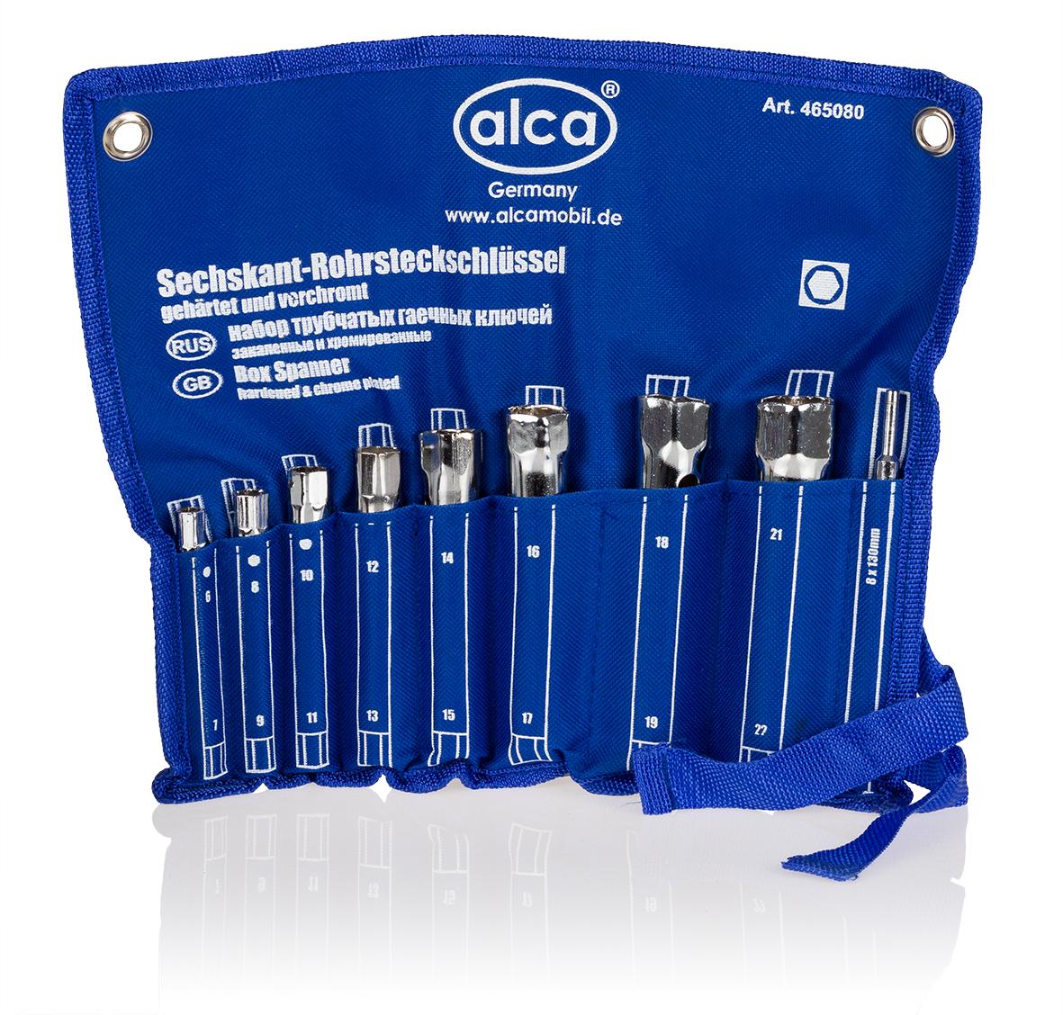 Набор трубчатых гаечных ключей Alca, 16 размеров, 8 шт465080Набор трубчатых гаечных ключей Alca применяется для монтажа и демонтажа резьбовых соединений. Изделия выполнены из высококачественной хромированной стали. Для удобной переноски предусмотрена практичная сворачиваемая сумка.В набор входит 8 ключей 16 размеров: 6 мм, 7 мм, 8 мм, 9 мм, 10 мм, 11 мм, 12 мм, 13 мм, 14 мм, 15 мм, 16 мм, 17 мм, 18 мм, 19 мм, 21 мм, 22 мм.