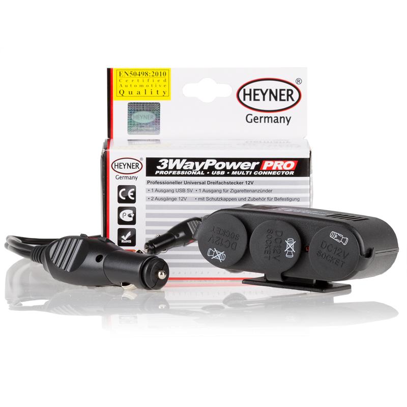 Разветвитель прикуривателя Heyner, с 3 выходами + USB511300Разветвитель прикуривателя Heyner увеличивает количество гнезд прикуривателя и рассчитан на подключение нескольких различных электрических приборов, например, автомобильного чайника или термокружки. Выполнен из тугоплавкого пластика. Имеет 3 гнезда прикуривателя, 1 порт USB, предохранитель и кабель длиной 1 м. Это устройство незаменимо при выездах на природу, да и просто в поездках по городу.Напряжение: 12В.