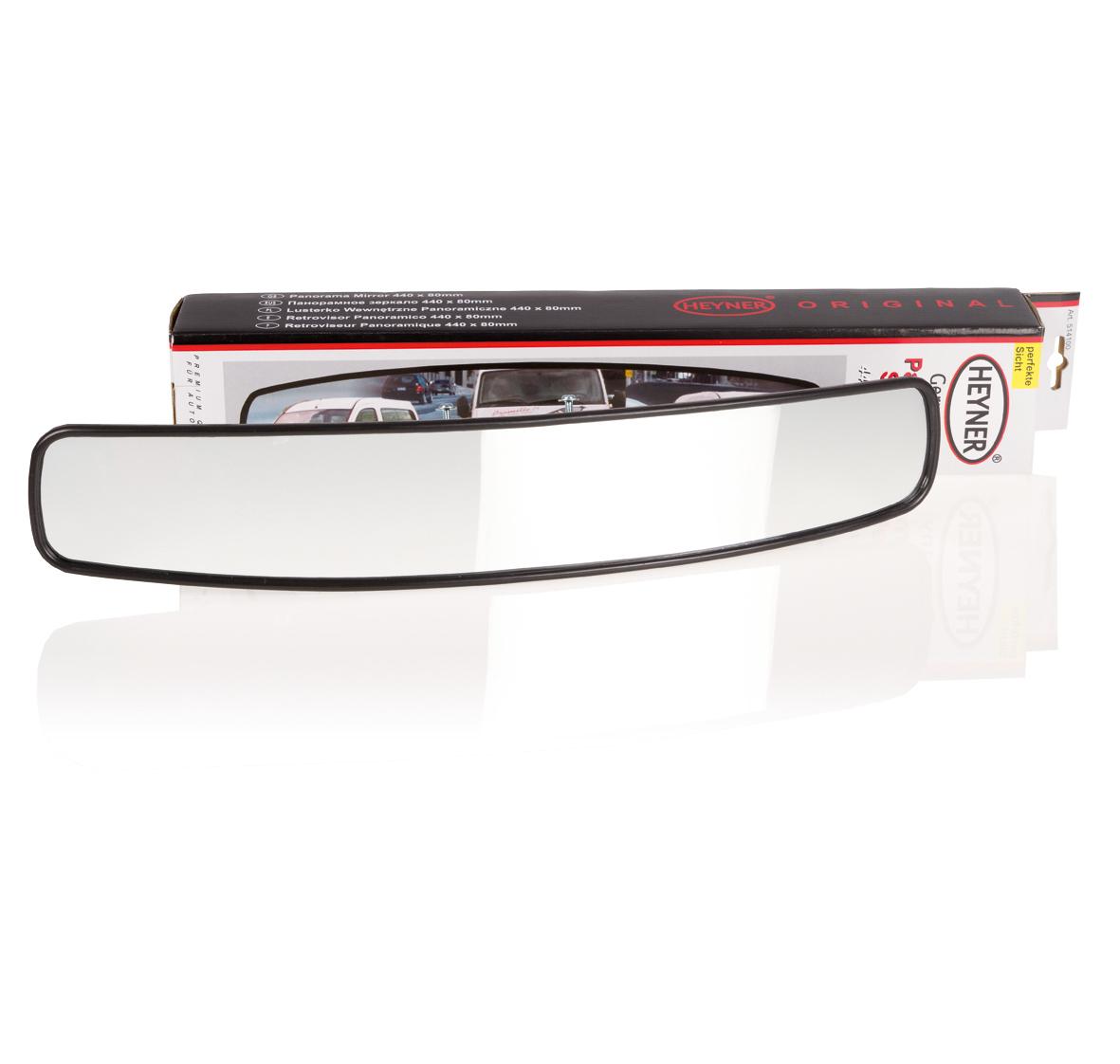 Зеркало заднего вида Heyner, панорамное, 440 х 80 мм514100Накладное панорамное зеркало заднего вида Heyner используется в автомобилях для увеличения угла обзора дорожной ситуации с водительского места. Использование данных внутрисалонных зеркал повышает удобство вождения при совершении маневров, а также безопасность движения. Зеркало имеет сферическую форму для создания панорамы происходящего в мертвой для обзора области зеркала. Водителю видно то, что не видно в боковые зеркала. Устанавливается на штатное зеркало.