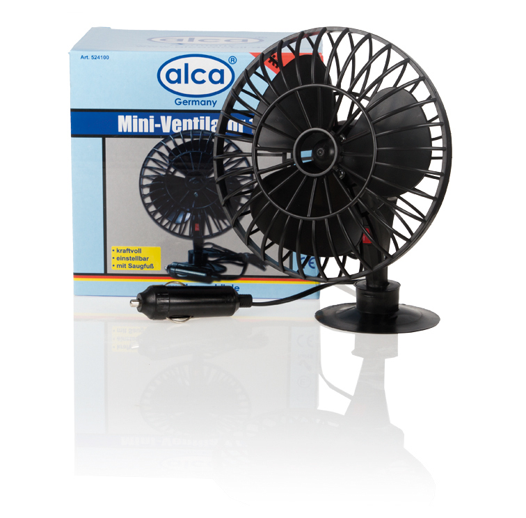 Автовентилятор на присоске Alca, 12 В524100Компактный и мощный автомобильный вентилятор Alca выполнен из высококачественного прочного пластика. Вентилятор оснащен присоской, при помощи которой его можно разместить на стекле автомобиля.Автомобильный вентилятор Alca подарит прохладу и станет отличным спасением в жаркий летний зной для вас и ваших близких.Напряжение: 12 В.