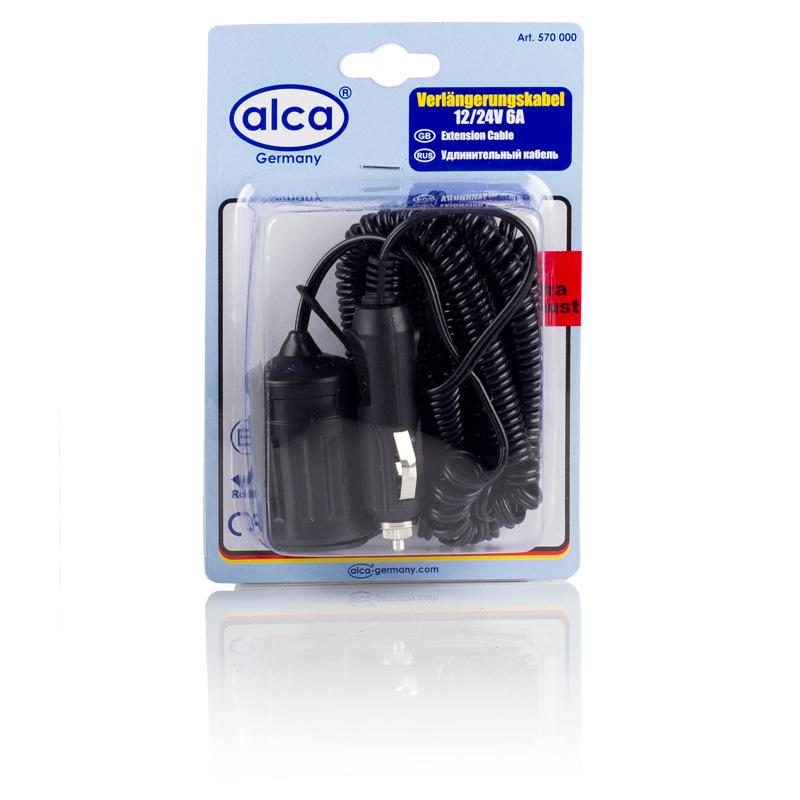 Удлинитель прикуривателя Alca, 12В/24В, 6 А, 5 м570000Удлинитель прикуривателя Alca со спиральным кабелем позволяет увеличить длину шнура электрических приборов, и теперь его ограниченная длина не будет сковывать вас. Имея в своем автомобиле удлинитель гнезда прикуривателя, вы делаете автомобильную электророзетку мобильной, а значит используемый прибор больше не будет попадать под руку во время движения. Теперь вы можете поместить его в любом удобном месте в салоне и за его пределами. Например, удлинитель прикуривателя выручит вас на природе, когда придет время накачивать надувную лодку. Автохолодильник, подключенный с помощью удлинителя, займет подходящее место, а не то, которое ему позволял короткий шнур.Длина кабеля: 5 м. Напряжение: 12В/24В. Сила тока: 6 А.
