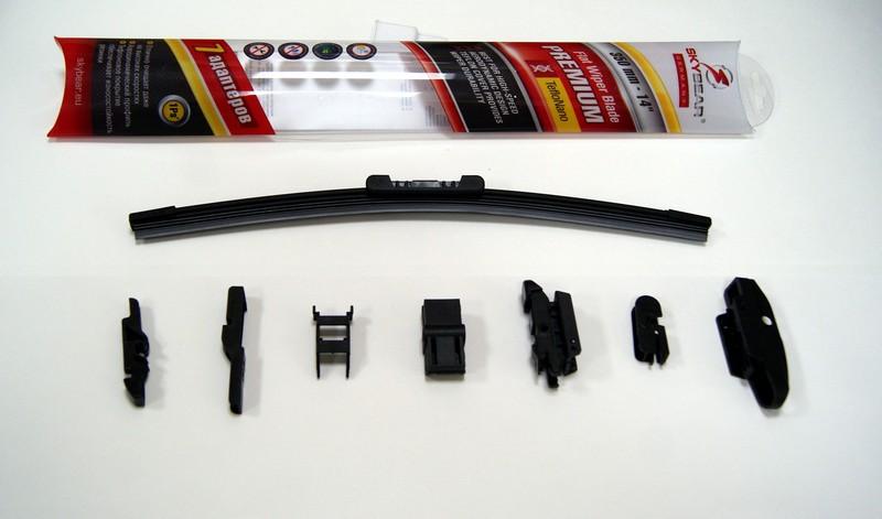 Щетка стеклоочистителя Skybear Premium, бескаркасная, 35 см, 1 шт701140Бескаркасная щетка стеклоочистителя Skybear Premium прекрасно очищает в любую погоду. Тефлоновое покрытие обеспечивает превосходную очистку и увеличивает срок эксплуатации. Щетка обладает аэродинамическим дизайном. Подходит к 95% автомобилей.В комплект входят 7 адаптеров.