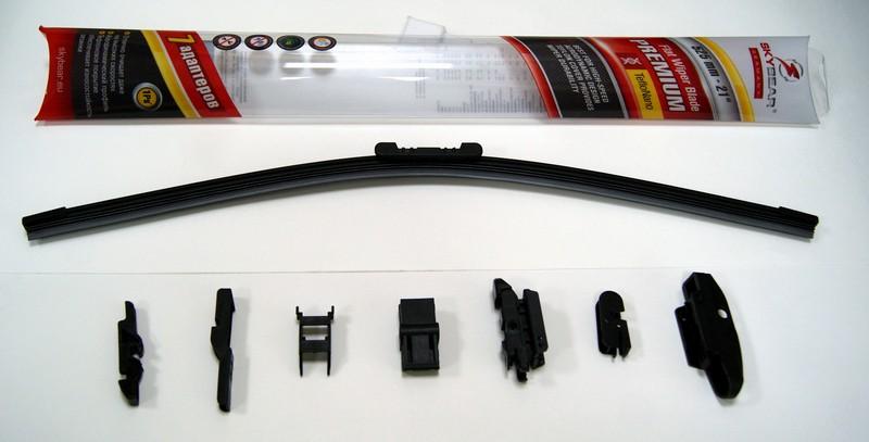 Щетка стеклоочистителя Skybear Premium, бескаркасная, 52,5 см, 1 шт701210Бескаркасная щетка стеклоочистителя Skybear Premium прекрасно очищает в любую погоду. Тефлоновое покрытие обеспечивает превосходную очистку и увеличивает срок эксплуатации. Щетка обладает аэродинамическим дизайном. Подходит к 95% автомобилей.В комплект входят 7 адаптеров.