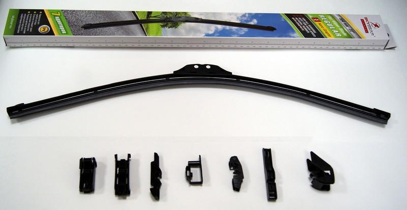 Щетка стеклоочистителя Skybear Regular, бескаркасная, 56 см, 1 шт702220Бескаркасная щетка стеклоочистителя Skybear Regular прекрасно очищает в любую погоду. Резинка выполнена на основе натурального каучука. Щетка имеет аэродинамический дизайн. Подходит к 95% автомобилей.В комплекте 7 адаптеров.