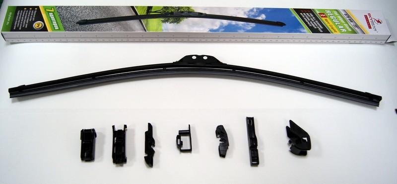 Щетка стеклоочистителя Skybear Regular, бескаркасная, 58 см, 1 шт702230Бескаркасная щетка стеклоочистителя Skybear Regular прекрасно очищает в любую погоду. Резинка выполнена на основе натурального каучука. Щетка имеет аэродинамический дизайн. Подходит к 95% автомобилей.В комплекте 7 адаптеров.