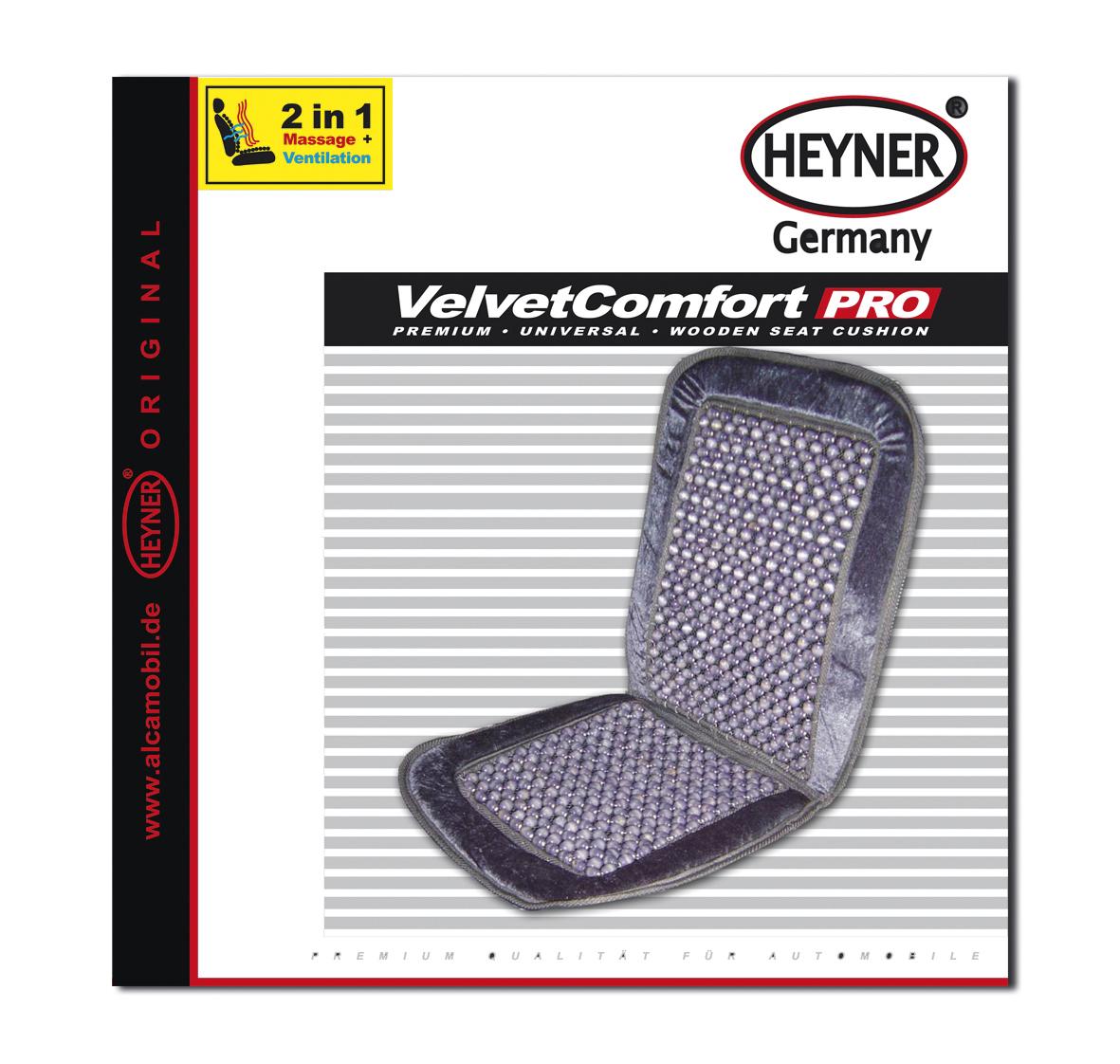 Накидка-массажер на сиденье Heyner, деревянные шарики, цвет: серый709000Накидка Heyner обеспечивает массаж и охлаждение для водителя и пассажиров посредством деревянных шариков. Быстро и просто устанавливается на сиденье. Накидка выполнена из велюра.