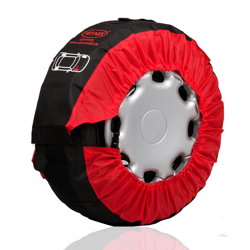 Чехлы для колес Heyner, 14-18, ширина до 245 мм, 4 шт735000Чехлы для колес Heyner изготовлены из плотной высококачественной тентовой ткани. Чехлы подходят к шинам диаметром 14-18 и шириной 245 мм. Они плотно облегают колесо благодаря резинке по краю. Для удобной переноски на каждом чехле имеется ручка. Максимальная длина окружности шины: 210 см.