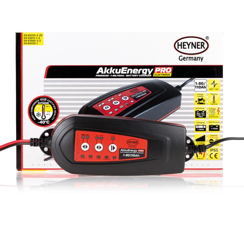 Мобильное зарядное устройство Heyner AkkuEnergy PRO для АКБ 1-80 Ah 12V927080Мобильное зарядное устройство AkkuEnergy PRO для кислотных АКБ 1-80 Ah. Процесс зарядки управляется микропроцессором. 6 ступенчатый процеc зарядки. Поддерживает АКБ емкостью от 1-110 Ah в рабочем состоянии в преиод когда АКБ находится на хранении. Ток зарядки импульсный. Защита от обратной полярности, короткого замыкания прегрева и импульсных перенапряжений. Копус изготовлен из прочного пластика (IP65)