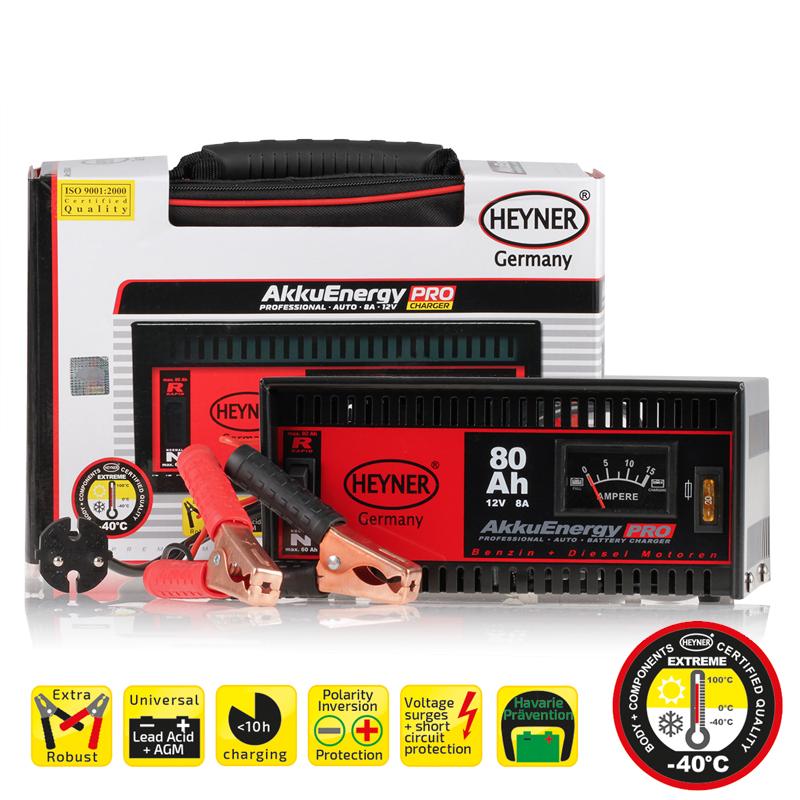 Зарядное устройство Heyner, 8 А, 18-80 Ач, 12В930800Зарядное устройство Heyner предназначено для АКБ емкостью 18-80 Ач 12В. Изделие имеет гарантированную работоспособность при -40°С. Универсальные клеммы подходят для всех аккумуляторов. Устройство защищено от перегрузок, от обратного тока и от короткого замыкания. Переключатель стандарт/быстрый заряд. Предназначен для кислотных АКБ и АКБ стандарта AGM. Удобная сумка для хранения и перевозки в комплекте.Емкость: 18-80 Ач.Ток: 8 А.Напряжение: 12В.