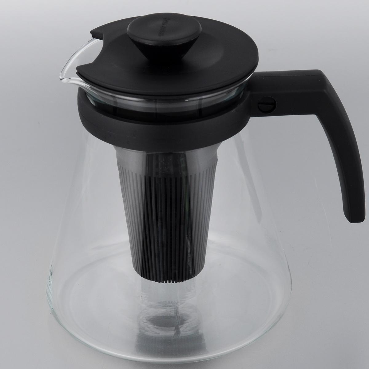 Чайник заварочный Tescoma Teo, с ситечками, цвет: прозрачный, черный, 1,25 л646622Заварочный чайник Tescoma Teo поможетприготовить вкусный и ароматный чай. Колбавыполнена из термостойкого боросиликатногостекла, ручка и крышка из прочного пластика.Чайник снабжен съемными пластиковымиситечками. Глубокое ситечко предназначенодля заваривания свежей мяты, мелиссы, имбиря,сушеного шиповника. Очень густое ситечко длязаваривания всех видов рассыпчатогочая. Можно использовать на газовых,электрических и стеклокерамических плитах, атакже в микроволновых печах. Не рекомендуетсямыть впосудомоечной машине.Диаметр (по верхнему краю): 10 см.Высота чайника (без учета крышки): 16 см.