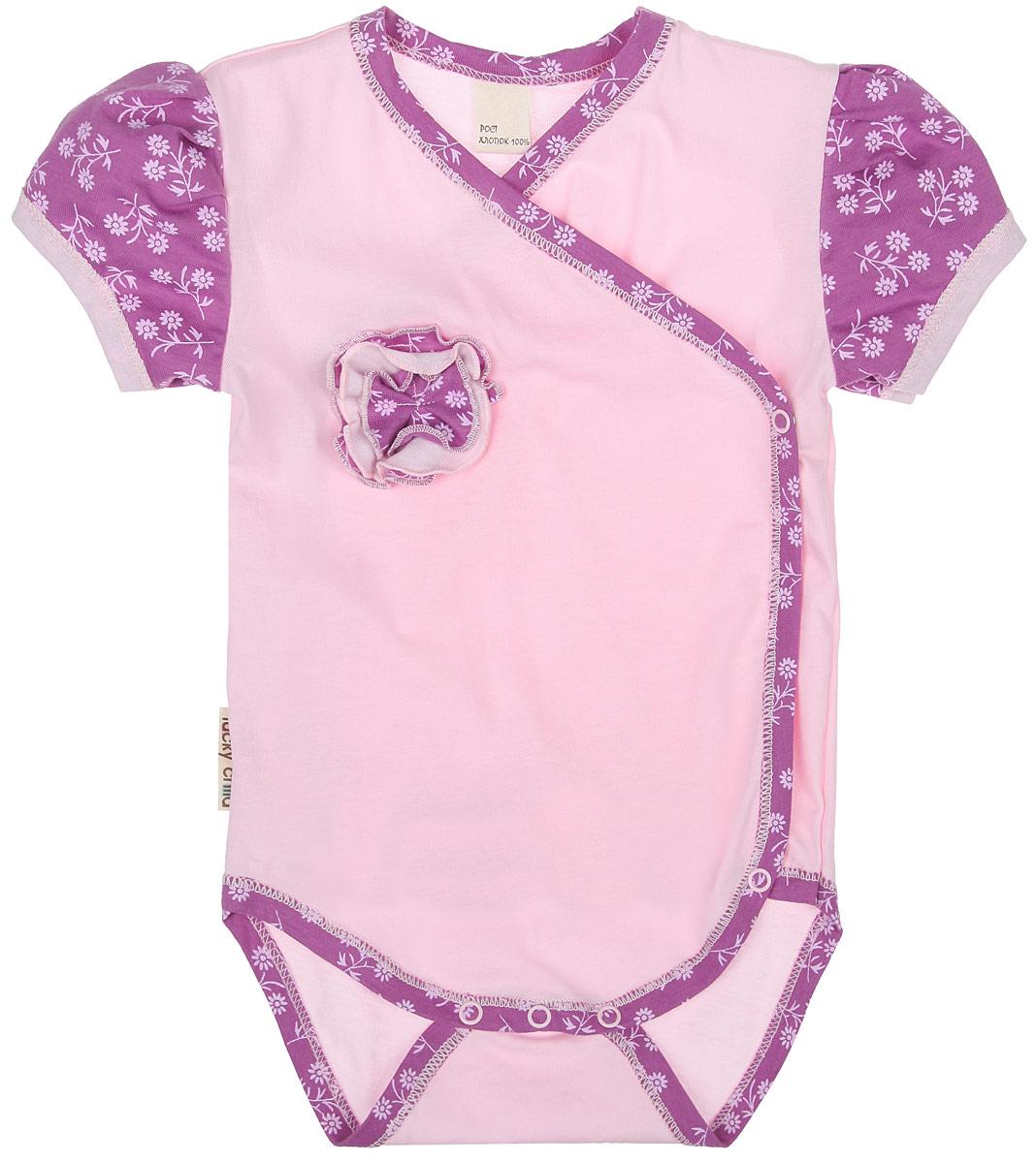 Боди для девочки Lucky Child Цветочки, цвет: светло-розовый, сиреневый. 11-51. Размер 80/86, 12-18 месяцев