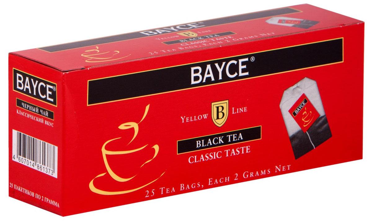 Bayce Классический вкус черный чай в пакетиках, 25 шт4607014861373Bayce Классический вкус - превосходный классический чай, собранный на чайных плантациях Индии, Кении и острова Цейлон. Приятный вкус и целебные свойства делают этот сорт особенно привлекательным.