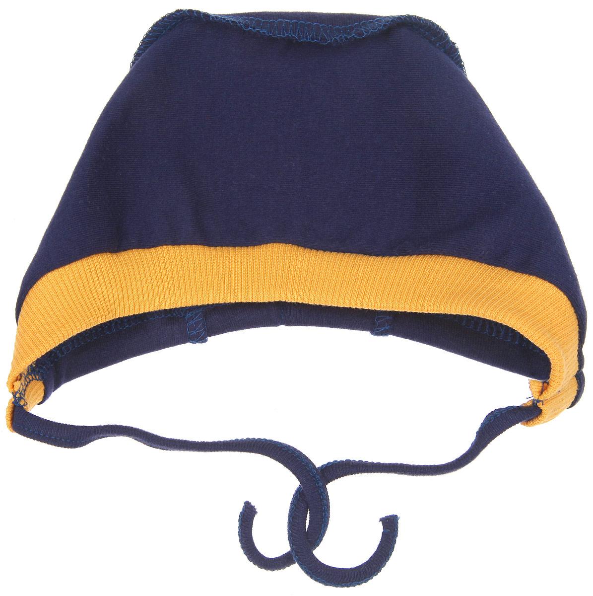 Чепчик для мальчика Lucky Child Мужички, цвет: темно-синий, желтый. 27-10. Размер 36 чепчик для мальчика lucky child цвет кофейный 20 10 размер 38