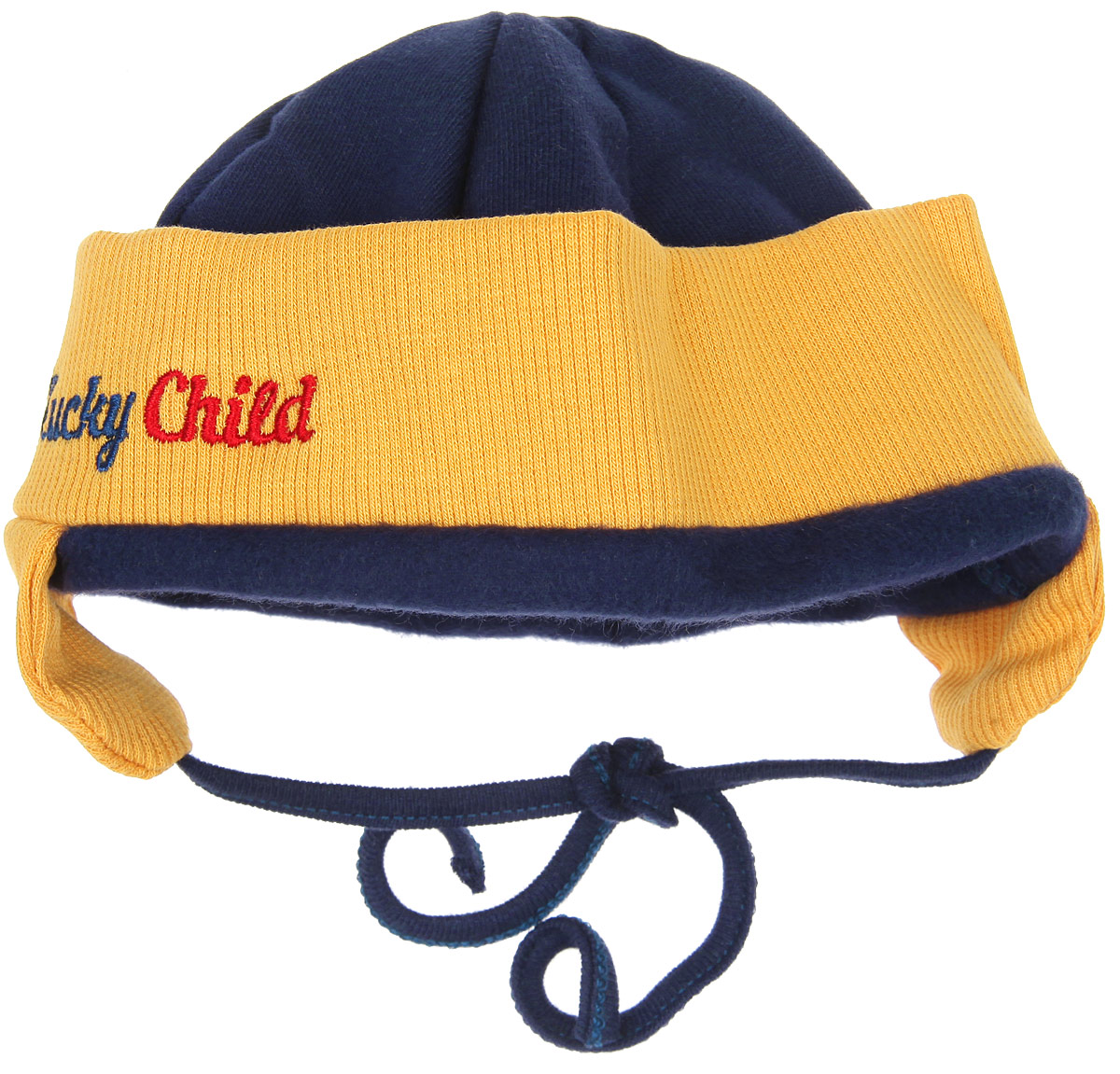 Шапочка для мальчика Lucky Child Мужички, цвет: синий, горчичный. 27-91ф. Размер 36 шапочки и чепчики lucky child шапочка мужички 27 91ф