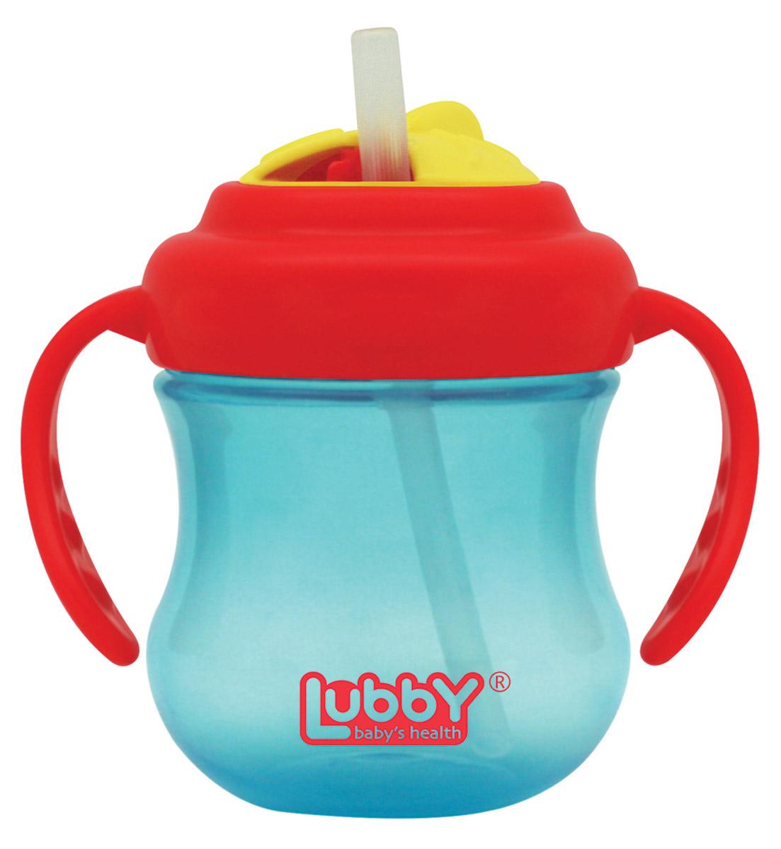 Lubby Поильник-непроливайка Mini Twist с трубочкой от 6 месяцев цвет голубой красный 250 мл -  Поильники