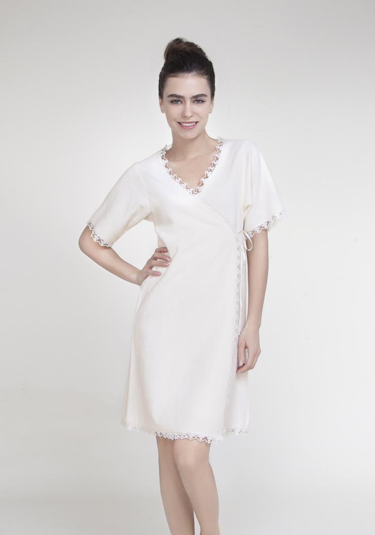 Халат женский Issimo Home, цвет: белый. VERANDA. Размер L (46) халат домашний five wien home five wien home mp002xw13mzr