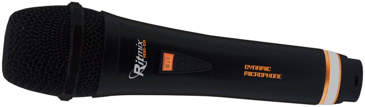 Ritmix RDM-131, Black микрофон15115468Динамический, однонаправленный, 80-15000Гц, 600Ом, 68дБ, кабель 3-pinXLR/jack6.3мм 3м, переключатель Вкл/Выкл, пластик