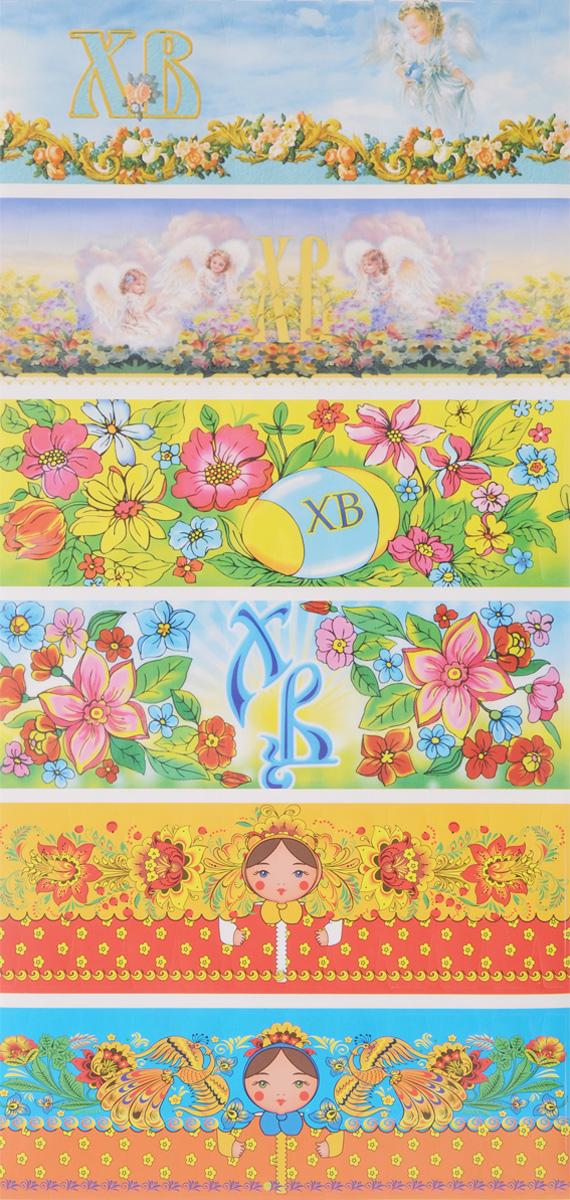 """Набор """"Home Queen"""" состоит из 12 наклеек, которые предназначены для декорирования пасхальных яиц. Наклейки выполнены из бумаги и украшены разнообразными рисунками. Такой набор украшений создаст атмосферу праздника в вашем доме. Размер наклейки: 14,5 х 4,5 см."""