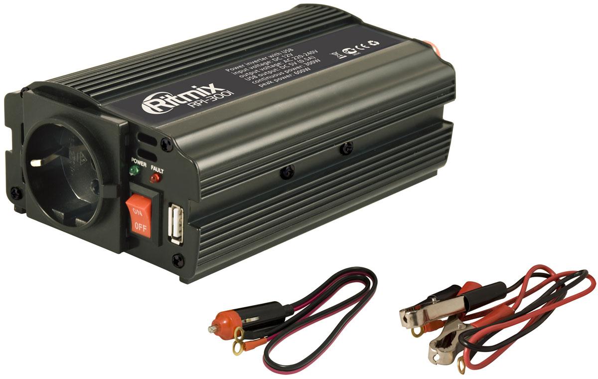 Ritmix RPI-3001 преобразователь напряжения15115811Ritmix RPI-3001 – автомобильный инвертор напряжения, предназначенный для питания (зарядки) электронных устройств, работающих от сети 220 вольт или от USB. Любые электроприборы, которыми вы привыкли пользоваться у себя дома, теперь работают в вашем автомобиле, куда бы вы ни поехали!Важно!При подключении к прикуривателю потребляемая мощность прибора, подключённого к инвертору, не должна превышать 250 Вт. Если к инвертору подключается несколько приборов, потребляемая ими мощность суммарно не должна превышать 250 Вт. В противном случае возможен выход из строя приборов и всей электросети автомобиля.Выходная мощность: максимальная - 300 Вт; импульсная - 600 ВтВыходное напряжение: евророзетка - 230 В; USB - 5 ВВыходной ток USB: 0,5 АВыходная эффективность: до 85 %Порог отключения: при низком входном напряжении: 9,2 - 9,8 В; при высоком входном напряжении: 15 - 16 В