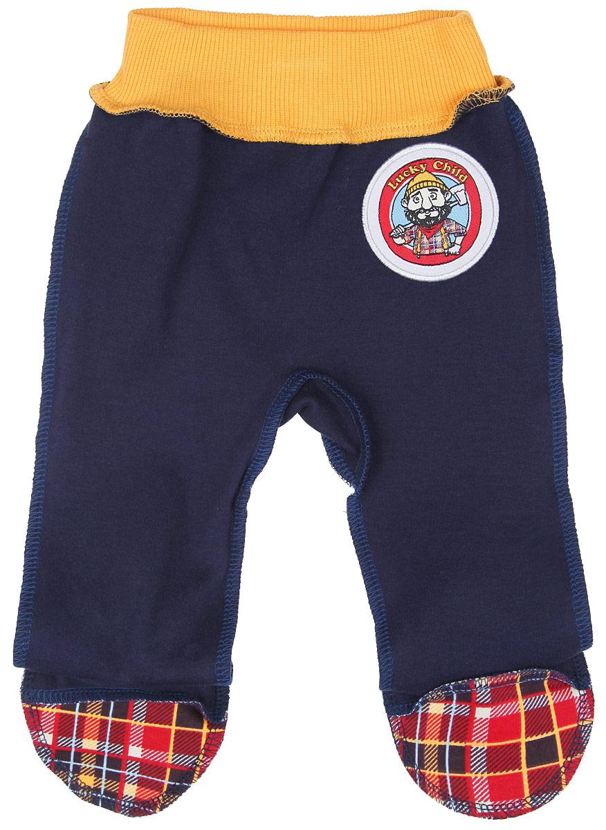 Ползунки для мальчика Lucky Child Мужички, цвет: темно-синий, красный, желтый. 27-4. Размер 56/62, 0-3 месяца ползунки детские lucky child 3 4 голубой р 62 68