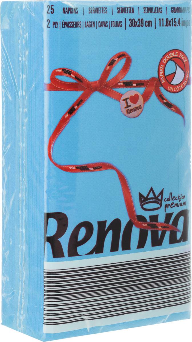 Салфетки бумажные Renova, двуслойные, цвет: голубой, 25 шт20718Двухслойные салфетки Renova выполнены из натуральной целлюлозы. Они отличается необыкновенной мягкостью и прочностью. Салфетки выполнены в ярком цвете. С такими салфетками каждый ужин станет особенным. Ужеаккуратно сложенные и готовые к трапезе. Размер салфетки: 39 х 30 см.