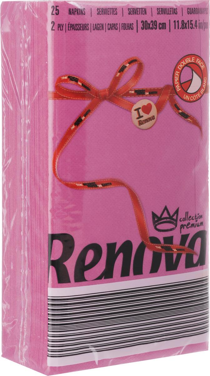 Салфетки бумажные Renova, двуслойные, цвет: фуксия, 25 шт20725Двухслойные салфетки Renova выполнены из натуральной целлюлозы. Они отличается необыкновенной мягкостью и прочностью. Салфетки выполнены в ярком цвете. С такими салфетками каждый ужин станет особенным. Ужеаккуратно сложенные и готовые к трапезе. Размер салфетки: 39 х 30 см.