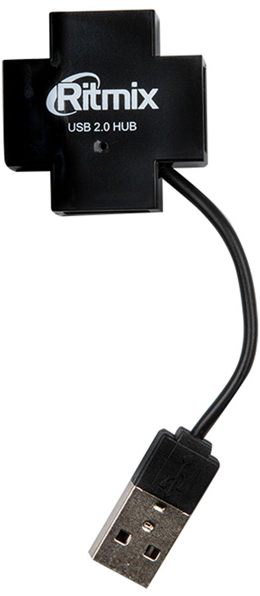 Ritmix CR-2404, Black USB-концентратор15118099Ritmix CR-2404 - четырёхпортовый USB-разветвитель (USB-хаб). Предназначен для подключения клавиатуры, мыши, USB-флэшки, фотоаппарата, смартфона, планшета к компьютеру или ноутбуку. Это полезное устройство пригодится и дома, и в офисе, и в путешествиях, когда не хватает штатных портов компьютера или хочется иметь к ним удобный доступ.Крестообразная форма корпуса позволила разместить USB-выходы симметрично на четыре стороны для удобного подключения устройств. Хаб имеет встроенный укороченный провод для подключения к ПК.