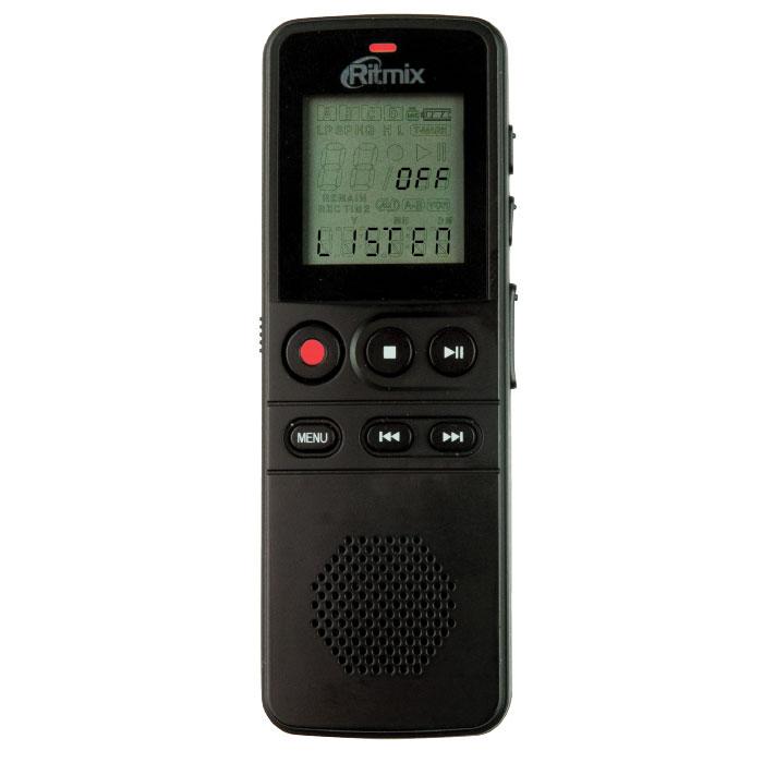 Ritmix RR-810 4GB, Black диктофон15118208Ritmix RR-810 – это цифровой диктофон в компактном корпусе с профессиональным качеством записи. Устройство имеет несколько режимов записи, оснащено качественным динамиком, а также поддерживает функцию съемного диска (при подключении к ПК для обмена данными установка дополнительного программного обеспечения не требуется).Рекордер имеет продвинутый набор функций: режим подавления внешних шумов, функция слухового аппарата, голосовая активация записи, световая и звуковая индикация работы, защита записей от случайного удаления, настройки скорости воспроизведения и многие другие.Несомненный плюс диктофона - питание от батарей. Теперь вы не привязаны к ПК или сети: просто замените батарейки и продолжайте запись дальше.RR-810 отличается богатой комплектацией: в комплект входит чехол для переноски, ремешок для ношения на руке и внешний петличный микрофон для удобства записи.Функция слухового аппаратаВстроенный динамикБыстрое начало записи нажатием одной клавишиРежим подавления внешних шумов - NC (Noise Cut)Голосовая активация записиЗащита записей от случайного удаленияРазличные настройки скорости воспроизведенияФункция музыкального плеера (воспроизведение файлов в формате MP3, WAV, WMA)Маркер дорожки (установка меток на длинных записях)Блокировка клавиш во избежание случайных нажатийВозможность прослушивания во время записиСветовая и звуковая индикация работы (отключается в настройках)Отображение оставшегося времени работы и заряда батарейУдаление файлов и форматирование без подключения к ПК