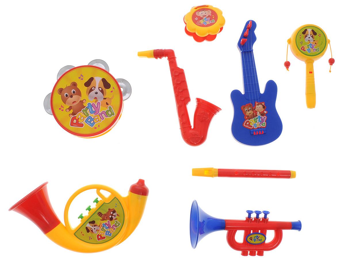 ABtoys Набор музыкальных инструментов Веселый оркестр цвет трубы желтый 8 предметов - Музыкальные инструменты