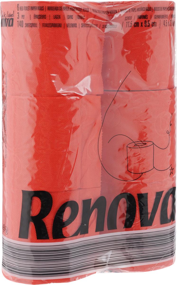 Туалетная бумага Renova Color, трехслойная, ароматизированная, цвет: красный, 6 рулонов11969Туалетная бумага Renova Color изготовлена по новейшей технологии из 100% ароматизированной целлюлозы с лосьоном, благодаря чему она имеет тонкий аромат, очень мягкая, нежная, но в тоже время прочная.Перфорация надежно скрепляет слои бумаги.Туалетная бумага Renova Color сочетает в себе простоту и оригинальность.Состав: 100% ароматизированная целлюлоза.Количество листов: 140 шт. Количество слоев: 3. Размер листа: 11,5 х 9,7 см. Количество рулонов: 6 шт.