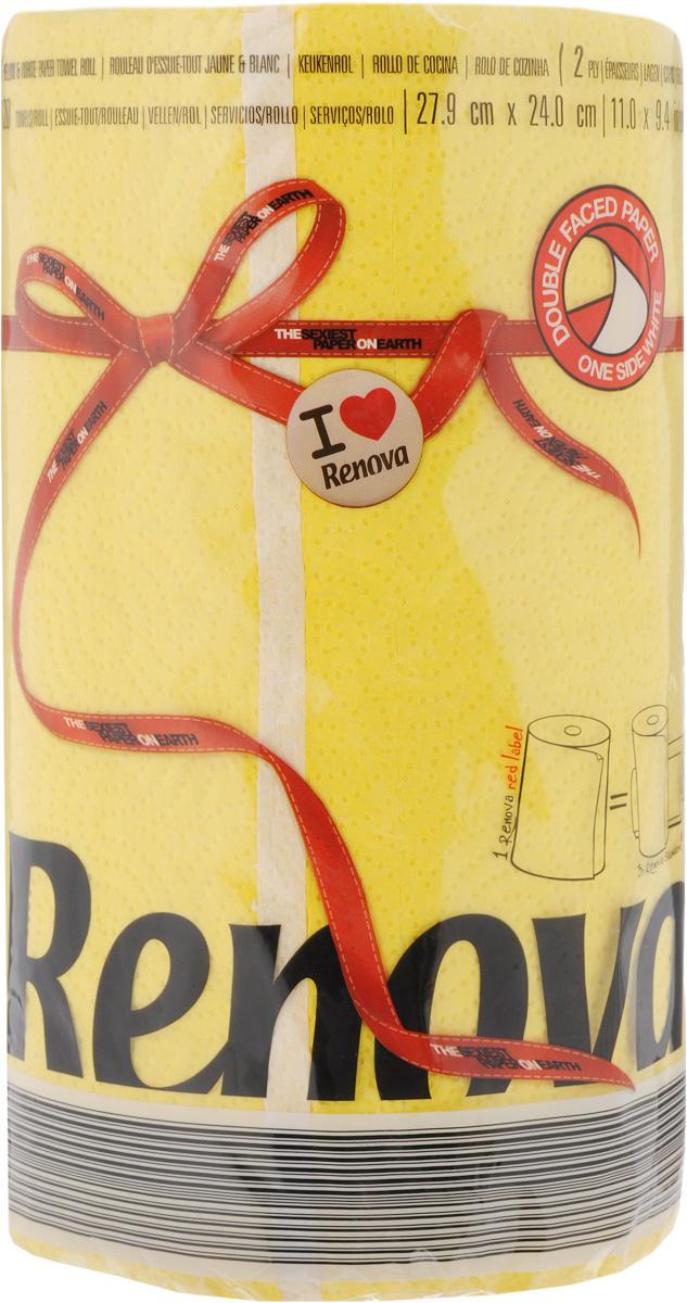 Полотенца бумажные Renova Red Label, двухслойные, цвет: желтый, 120 шт20916Двухслойные бумажные полотенца Renova Red Label, выполненные из натуральной целлюлозы, помогут обеспечить порядок и привнесут оригинальность в интерьер вашей кухни. Они способны поглощать большое количество жидкости, при этом оставаясь прочными и не разрываясь. Бумажные полотенца Renova Red Label совмещают в себе дизайн и текстуру, создавая возвышенную эстетику. Количество рулонов: 1 шт. Количество слоев: 2. Количество листов в рулоне: 120 шт.Размер листа: 27,9 х 24 см.