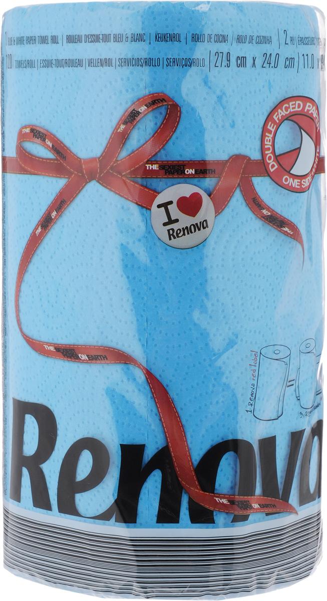 Полотенца бумажные Renova Red Label, двухслойные, цвет: синий, 120 шт20862Двухслойные бумажные полотенца Renova Red Label, выполненные из натуральной целлюлозы, помогут обеспечить порядок и привнесут оригинальность в интерьер вашей кухни. Они способны поглощать большое количество жидкости, при этом оставаясь прочными и не разрываясь. Бумажные полотенца Renova Red Label совмещают в себе дизайн и текстуру, создавая возвышенную эстетику. Количество рулонов: 1 шт. Количество слоев: 2. Количество листов в рулоне: 120 шт.Размер листа: 27,9 х 24 см.