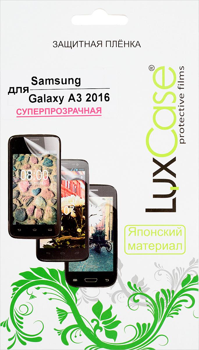 LuxCase защитная пленка для Samsung Galaxy A3 2016, суперпрозрачная88103Защитная пленка LuxCase для Samsung Galaxy A3 (2016) сохраняет экран смартфона гладким и предотвращает появление на нем царапин и потертостей. Структура пленки позволяет ей плотно удерживаться без помощи клеевых составов и выравнивать поверхность при небольших механических воздействиях. Пленка практически незаметна на экране смартфона и сохраняет все характеристики цветопередачи и чувствительности сенсора.