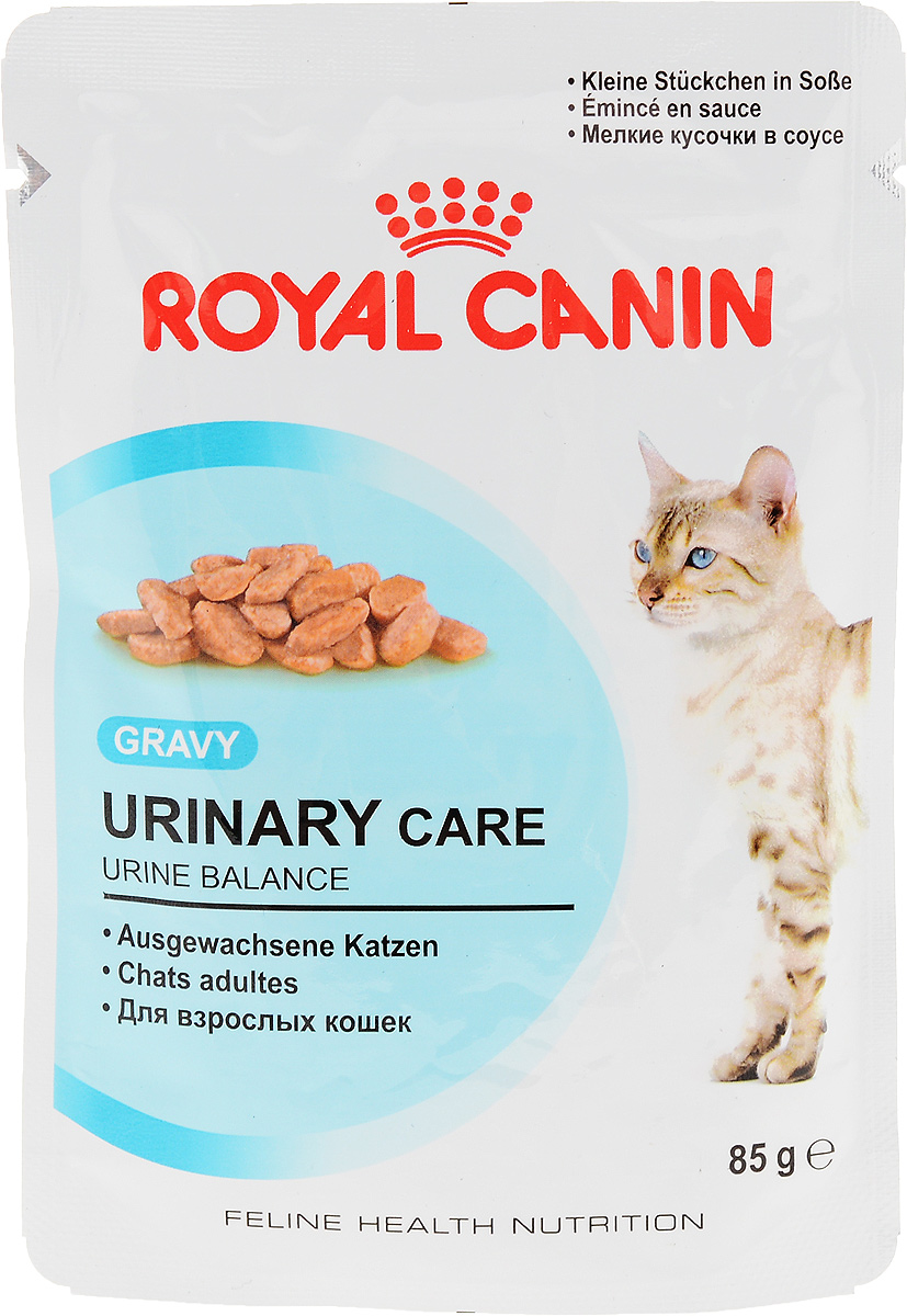 """Консервы Royal Canin Urinary Care, для взрослых кошек, мелкие кусочки в соусе, 85 г10144216Консервы Royal Canin Urinary Care специально созданы для профилактики камней в мочевыводящих путях увзрослых кошек.Кристаллы могут образовываться даже в моче здоровых кошек. Некоторые факторы, в том числе уровень рН мочи,повышают риск превращения кристаллов в камни. Правильное питание помогает снизить интенсивностьобразования кристаллов в моче. Urinary Care"""" - тщательно сбалансированная формула, способствующая поддержанию здоровья мочевыводящихпутей. Доказана эффективность продукта, в частности, против образования кристаллов струвита.Рекомендации: побуждайте кошку пить как можно больше воды. Таким образом увеличивается суточный объемотделяемой мочи и снижается ее концентрация, что благоприятно для здоровья мочевыводящих путей. Если у васесть какие-либо вопросы относительно здоровья мочевыводящих путей вашей кошки, обратитесь к ветеринарномуврачу.Состав: мясо и мясные субпродукты, злаки, субпродукты растительного происхождения, минеральные вещества,углеводы.Добавки (в 1 кг): Витамин D3: 195 ME, Железо: 3 мг, Йод: 0,09 мг, Марганец: 1 мг, Цинк: 10 мг.. Товар сертифицирован.Уважаемые клиенты! Обращаем ваше внимание на возможные изменения в дизайне упаковки. Качественные характеристики товара остаются неизменными. Поставка осуществляется в зависимости от наличия на складе."""