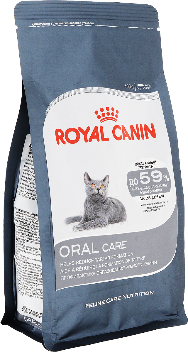 Корм сухой Royal Canin Oral Care, для взрослых кошек, 400 г58409Сухой корм Royal Canin Oral Care специально создан для профилактики образования зубного камня у взрослых кошек.Зубной камень образуется при массивных отложениях зубного налета, может привести к неприятному запаху из пасти и воспалению десен. Гигиена ротовой полости играет решающую роль в поддержании здоровья вашей кошки.Oral Care - тщательно сбалансированная формула, помогающая снизить интенсивность образования зубного камня и сохранить здоровье ротовой полости животного. Двойное действие продукта.Механическое действие: форма и размеры крокет Oral Care побуждают кошку тщательнее разгрызать корм, при этом механическим путем ежедневно очищая зубы и препятствуя образованию зубного налета. Химическое действие: формула обогащена активными веществами, которые связывают содержащийся в слюне кальций, предупреждая отложения зубного камня.Баланс минеральных веществ продукта поддерживает здоровье мочевыводящих путей взрослой кошки. Состав: злаки, дегидратированные белки животного происхождения (птица), растительная клетчатка, изолят растительных белков L.I.P., животные жиры, гидролизатбелков животного происхождения, свекольный жом, минеральные вещества, рыбий жир, соевое масло, оболочка и семена подорожника, фруктоолигосахариды.Добавки (в 1 кг): витамин A - 24100 ME, витамин D3 - 700 ME, железо - 34 мг, йод - 3,4 мг, марганец - 44 мг, цинк - 131 мг, сeлeн - 0,05 мг. Товар сертифицирован.Уважаемые клиенты! Обращаем ваше внимание на возможные изменения в дизайне упаковки. Качественные характеристики товара остаются неизменными. Поставка осуществляется в зависимости от наличия на складе.