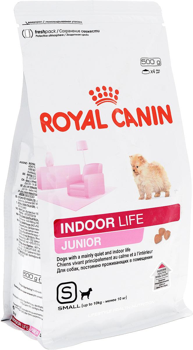 Корм сухой Royal Canin Indoor Life Junior, для щенков мелких пород, живущих в помещениях, 500 г57333Сухой корм Royal Canin Indoor Life Junior - полнорационный корм для щенков мелких пород в возрасте до 10 месяцев, живущих главным образом в помещении. Здоровое пищеварение. Нормальный стул. Indoor Life Junior поддерживает здоровье пищеварительной системы,уменьшает запах и объем фекалий благодаря высокоусвояемым белкам L.I.P., оптимальному содержанию клетчатки и качественным источникам углеводов.Естественная защита. Продукт поддерживает механизмы естественной защиты щенка благодаря эксклюзивному комплексу антиоксидантов и пребиотикам.Здоровье шерсти. Продукт содержит питательные вещества, поддерживающие здоровье кожи и шерсти. Обогащен жирными кислотами Омега 3 (EPA и DHA). Здоровье зубов. Продукт содержит хелаторы кальция, предотвращающие образование зубного камня и способствующие поддержанию гигиены полости рта. Состав: злаки, дегидратированные белки животного происхождения (птица), рис, животные жиры, изолят растительных белков L.I.P., свекольный жом, гидролизат белков животного происхождения, минеральные вещества, рыбий жир, соевое масло, фруктоолигосахариды, гидролизат дрожжей, экстракт бархатцев прямостоячих. Добавки (в 1 кг): Витамин А: 24900 ME, Витамин D3: 1200 ME, Железо: 38 мг, Йод: 3,9 мг, Марганец: 50 мг, Цинк 150 мг, Селен: 0,06 мг. Товар сертифицирован.