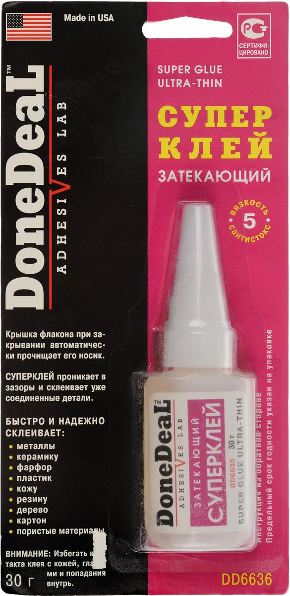 Суперклей Done Deal, затекающий, 30 гDD 6636Затекающий цианакрилатовый суперклей Done Deal предназначен для быстрого и надежного склеивания различных материалов и обладает высочайшей текучестью, смачиваемостью и адгезией. Суперклей проникает в зазоры и склеивает уже соединенные детали. Выдерживает воздействие высоких температур и большинства агрессивных жидкостей. В крышку флакона вмонтирована стальная иголка, которая при закрывании автоматически прочищает носик флакона и предотвращает застывание в нем клея.Быстро и надежно склеивает: металлы, керамику, пластик, резину, фарфор, кожу, дерево, картон, пористые материалы. Термоустойчивость: от -50°С до +95°С. Прочность соединения: 204 кг/см2. Время схватывания: 30 сек. Время отвердевания: 2 мин. Время полной полимеризации: 24 ч.