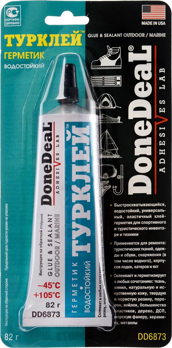 Герметик Done Deal Турклей, водостойкий, 82 гDD 6873Герметик Done Deal Турклей предназначен для склейки практически всех материалов, применяемых на производстве спортинвентаря, туристического снаряжения, обуви, одежды, надувных матрасов, лодок, катеров, яхт. Благодаря эластичности и высокой адгезии практически ко всем материалам позволяет надежно соединить разнородные материалы с разными физическими свойствами (стекло - резина, пластик - дерево). Прекрасно ремонтирует прорезиненную ткань, проникая в структуру ткани и образуя прочный, эластичный, влагонепроницаемыйремонтный слой. Выдерживает ударные нагрузки, вибрацию, перепады температуры, воздействие технических жидкостей, слабых кислот и щелочей. Широко используется для склейки и герметизации электро- и прочих соединений яхт и катеров, фиксации конструктивных элементов, обивок, крепежа. С помощью этого герметика можно приклеить элементы, для фиксации которых традиционно используется крепеж (например, крючок для одежды на пластиковую панель салона катера). Герметик Турклей позволяет осуществить восстановление конструкций из разнородных или композитных материалов, не поддающихся ремонту обычными клеями или герметиками, так как обычные клеи не обеспечивают достаточную вязкость и эластичность клеевого шва, а эластичные герметики не обладают достаточной прочностью соединения.Применение: Очистите, высушите и обезжирьте склеиваемые поверхности. По возможности зашкурьте. Нанесите герметик на обе склеиваемые поверхности. Дайте слою подсохнуть 2-5 минуты. Плотно сомкните поверхности, добиваясь выдавливания состава. Правильно позиционируйте поверхности в течение 30-60 секунд, зафиксируйте на 10-15 минут или до схватывания. Полное отвердевание состава происходит через 24 часа. Нагрев до +70-80°С сокращает время отвердевания до 2-3 часов. Температуры ниже 5°С замедляют отвердевание. Максимальная прочность клеевого соединения возникает через 48 часов. После применения очистите резьбу тюбика от остатков герметика. Незастывший ге